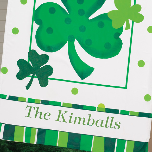 "Personalized Shamrock 27"" x 37"" Flag - View 3"