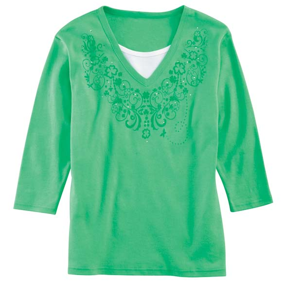 Shamrock Scrolls 3/4 Sleeve Shirt - View 2