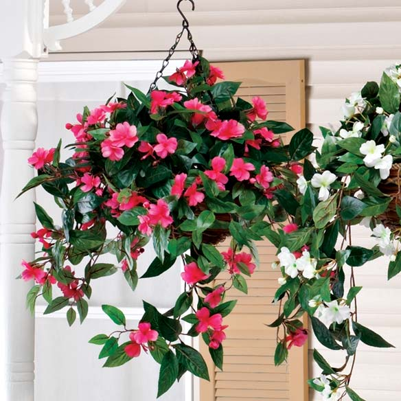 Artificial Impatiens Hanging Bush - View 3
