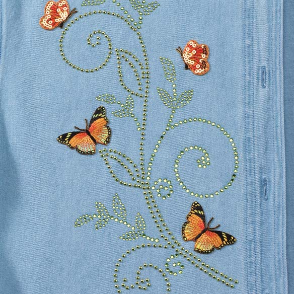 Women's Plus Size Denim Monarch Butterfly Shirt Set - View 2