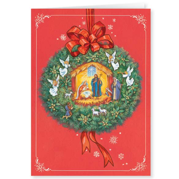 Nativity Wreath Christmas Card Set of 20 - View 2