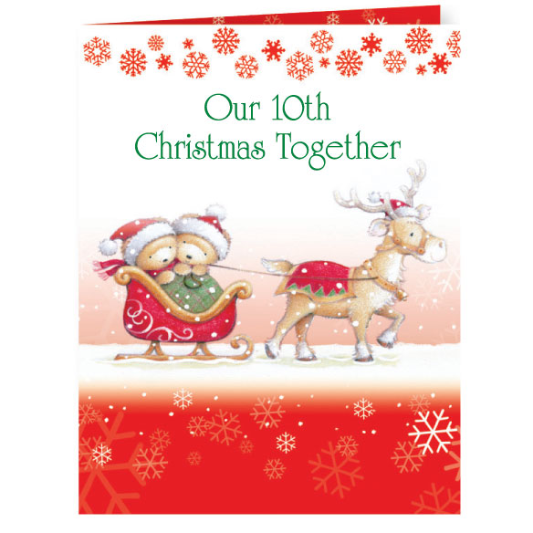 Years Together Teddy Bear Couple Christmas Card Set of 20 - View 2