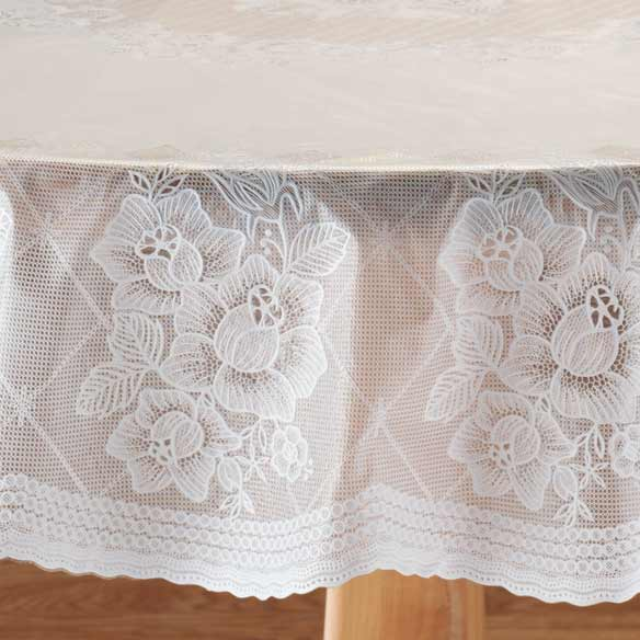 Floral Vinyl Lace Table Cover - View 2