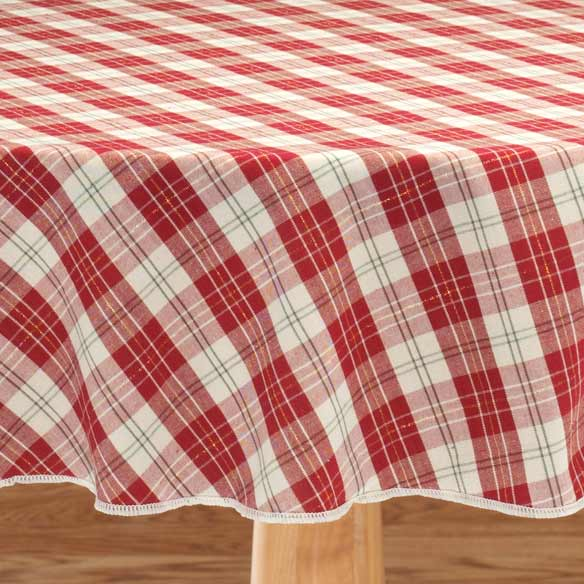 Holiday Plaid Fabric Table Cover - View 2