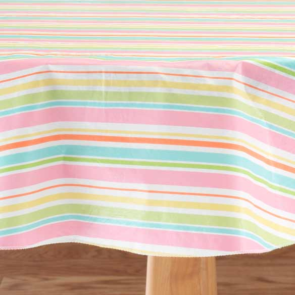 Pastel Easter Stripe Vinyl Table Cover - View 2