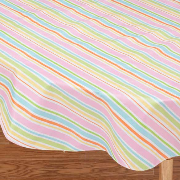 Pastel Easter Stripe Vinyl Table Cover - View 3