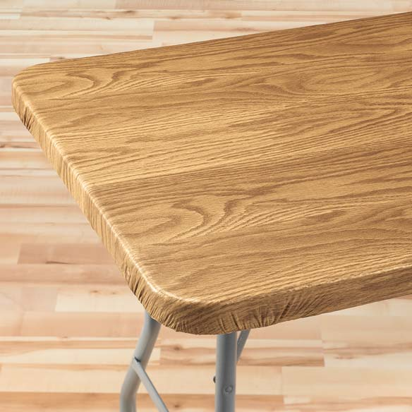 Wood Grain Elasticized Table Cover Wood Table Cover
