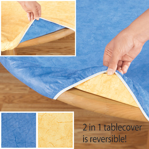 Blue or Gold Reversible Elasticized Table Cover - View 2