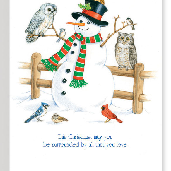 Snowman and Owl Unpersonalized Card Set of 20 - View 3