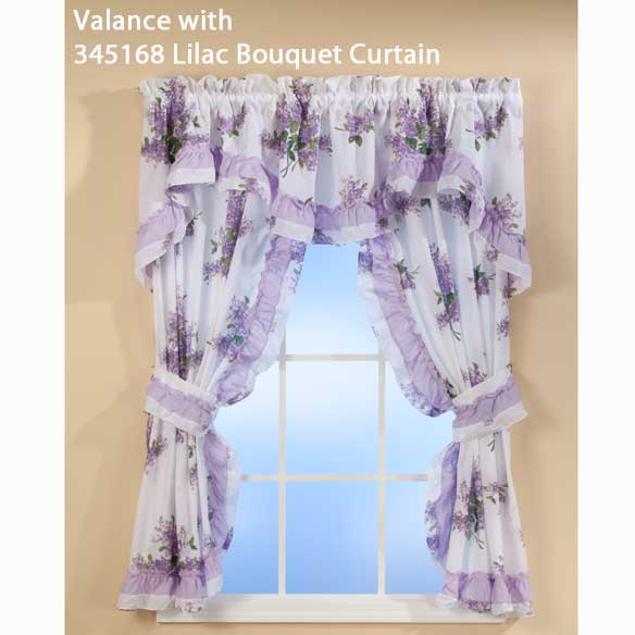 Lilac Bouquet Ruffled Quilted Valance - View 2