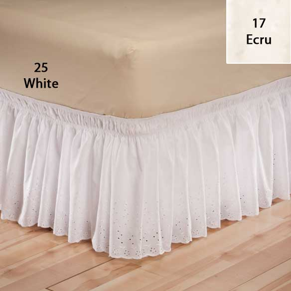 White Eyelet Bed Ruffle - View 2