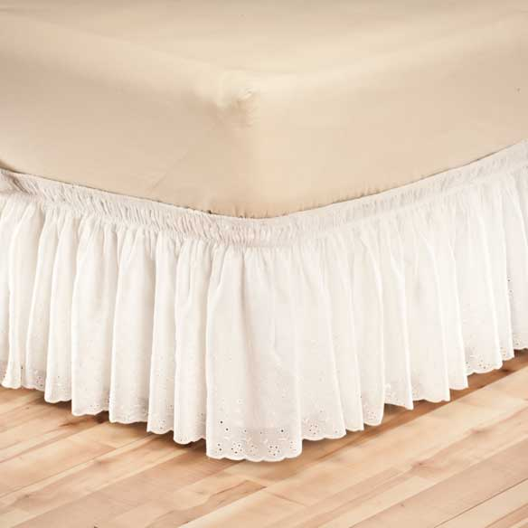 White Eyelet Bed Ruffle - View 3