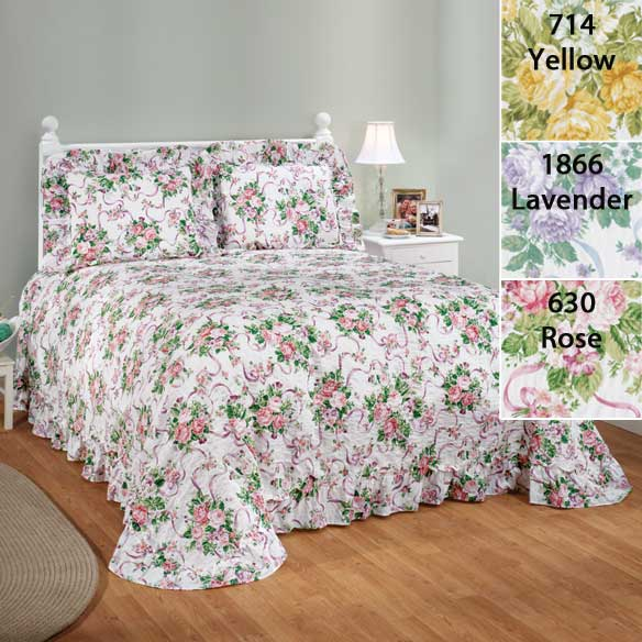 Ribbons & Roses Floral Plisse Bedding - View 2