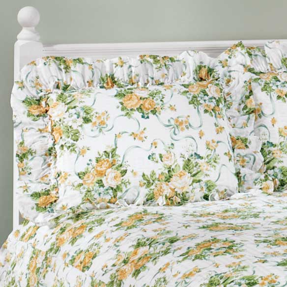 Ribbons & Roses Floral Plisse Pillow Shams - View 3