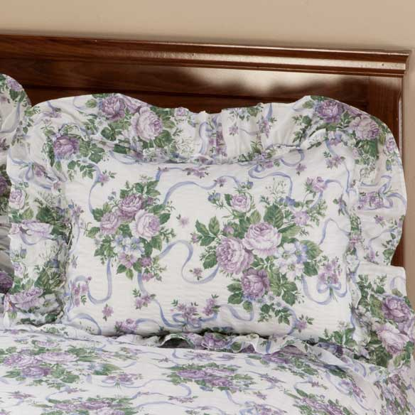 Ribbons & Roses Floral Plisse Pillow Shams - View 4