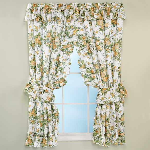 Ribbons & Roses Floral Plisse Curtains - View 3