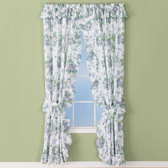 Ribbons & Roses Floral Plisse Curtains - View 4