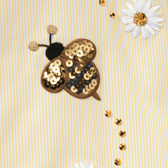 Sequined Bee 3/4 Sleeve Pinstripe Shirt - View 2