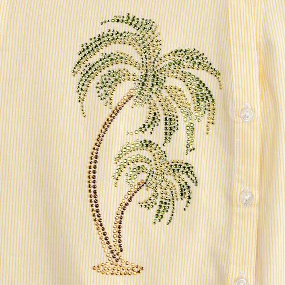 Jeweled Palm 3/4 Sleeve Pinstripe Shirt - View 2