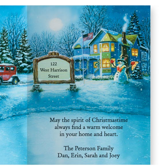 Nostalgic Village Christmas Card Set of 20 - View 4