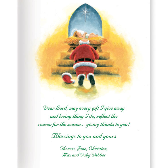 Santa's Prayer Christian Christmas Card Set of 20 - View 3