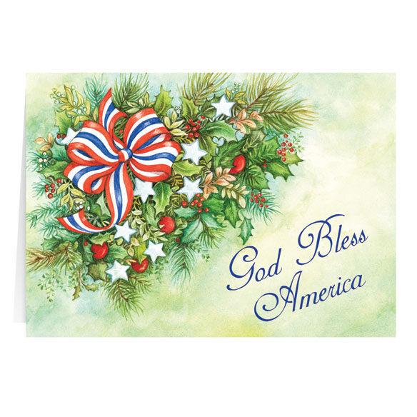 Patriotic Greenery Christmas Card Set of 20 - View 2