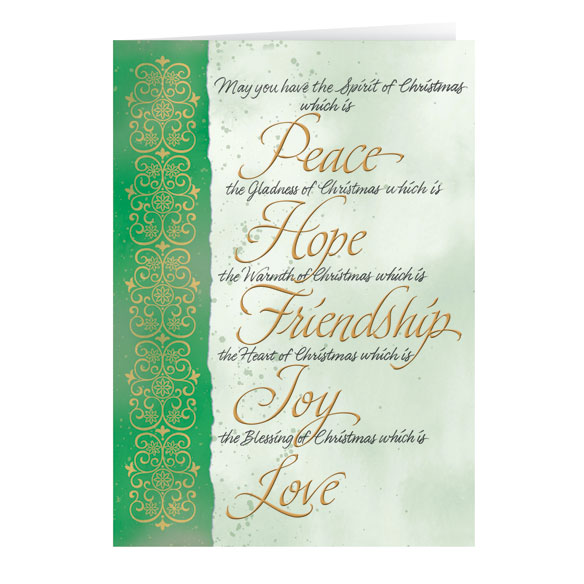 Peace Hope Love Christmas Card Set of 20 - View 2