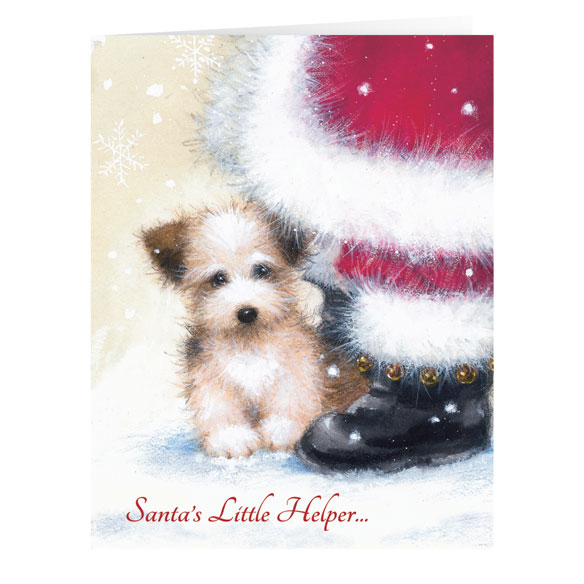 Santa's Little Helper Christmas Card Set of 20 - View 2