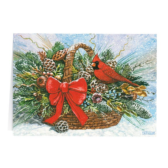 Cardinal Basket Christmas Card Set of 20 - View 2