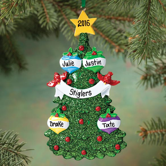 Personalized Glitter Tree Ornament - View 2
