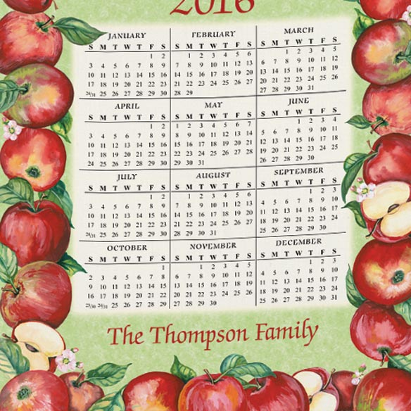 Personalized Apples Calendar Towel - View 3