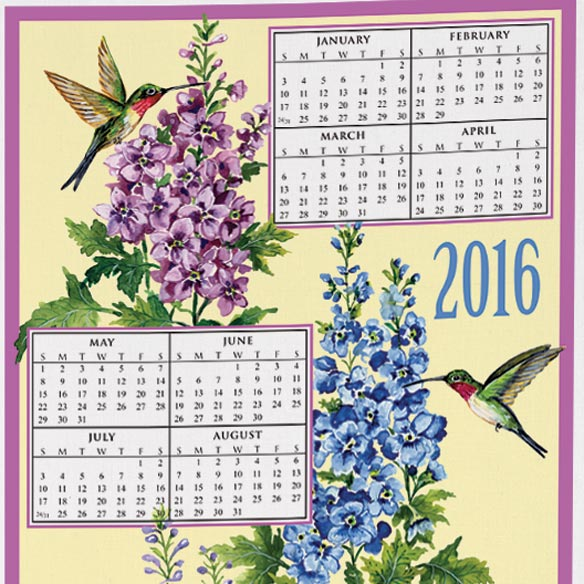 Personalized Hummingbird Trio Calendar Towel - View 2