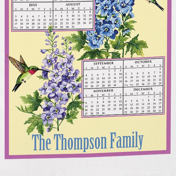 Personalized Hummingbird Trio Calendar Towel - View 3