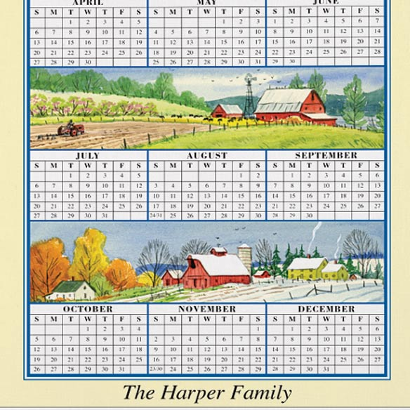 Personalized Four Seasons Calendar Towel - View 3