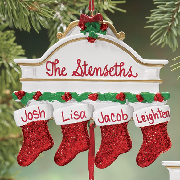 Personalized Christmas Mantel Stocking Ornaments - View 2