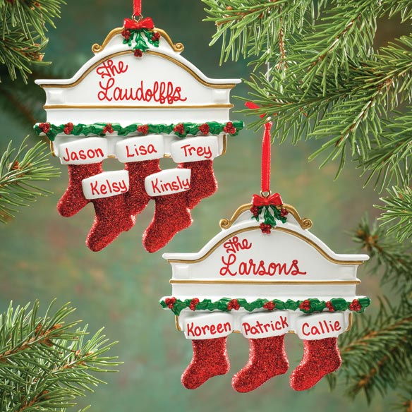 Personalized Christmas Mantel Stocking Ornaments - View 5