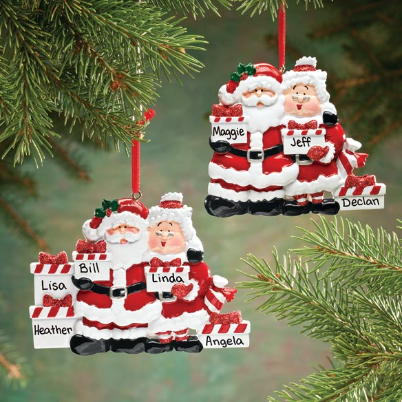 Personalized Santa And Mrs. Claus With Presents Ornament - View 2