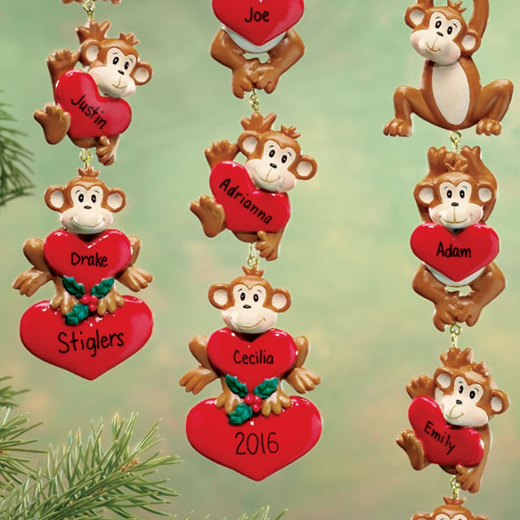 Personalized Monkeys With Hearts Ornaments - View 3