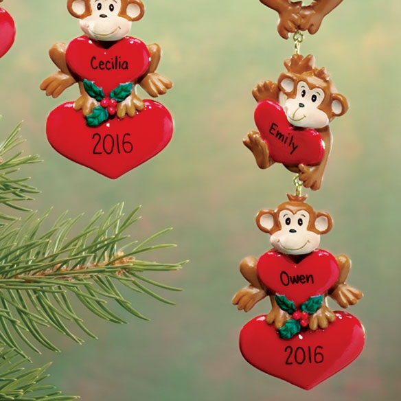 Personalized Monkeys With Hearts Ornaments - View 4
