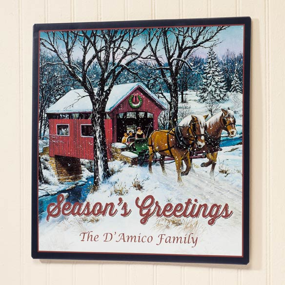 Personalized Covered Bridge Metal Plaque 12x12 - View 2