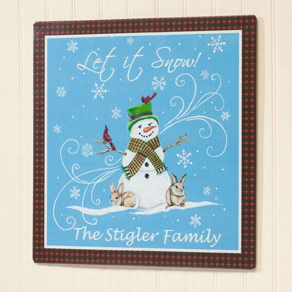 Personalized Let It Snow Metal Plaque 12x12 - View 2