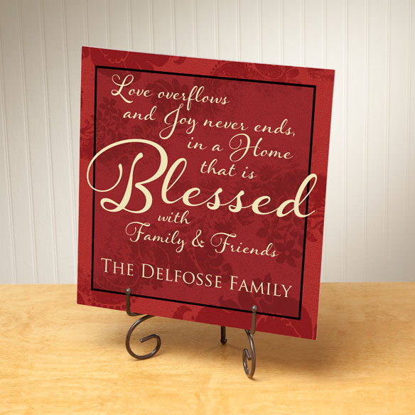 Personalized 12x12 Blessed Family Metal Wall Plaque - View 2