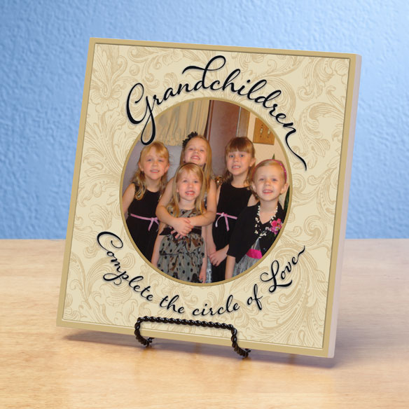 8x8 Grandchildren Circle of Love Photo Wood Wall Plaque - View 3