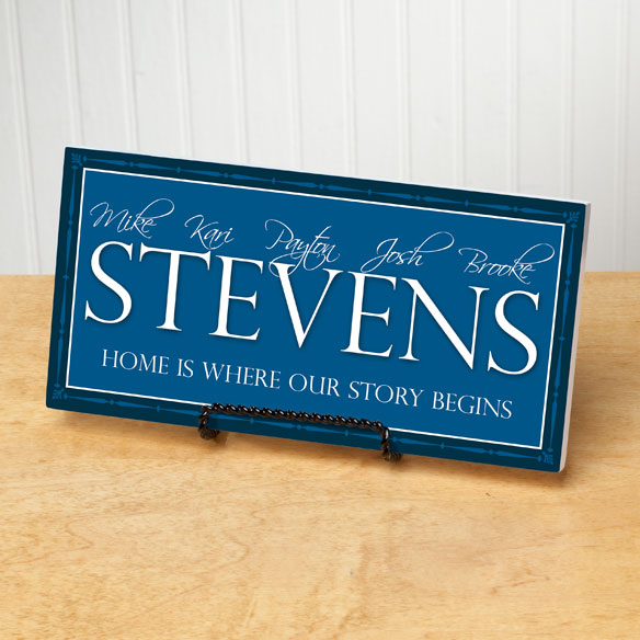 Personalized 4x8 Family Story Begins Wood Wall Plaque - View 2