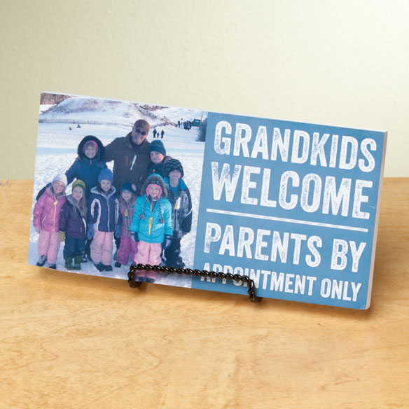 4x8 Grandkids Welcome Photo Wood Wall Plaque - View 2