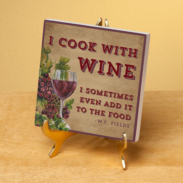 4x4 I Cook with Wine Wood Wall Plaque - View 2
