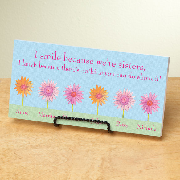 Personalized 4x8 Because We're Sisters Wood Wall Plaque - View 2