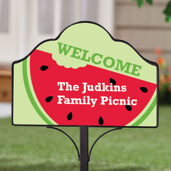 Personalized Magnetic Watermelon Yard Sign - View 2