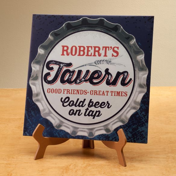 Personalized 12x12 Bottle Cap Metal Wall Plaque - View 2