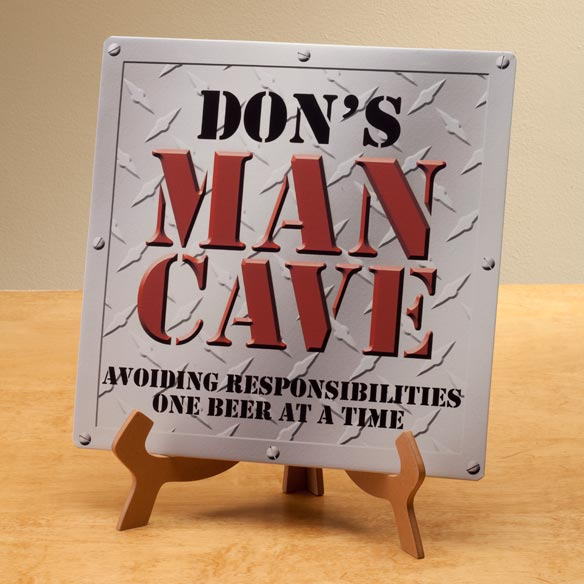 Personalized 12x12 Diamond Plate Man Cave Metal Wall Plaque - View 2
